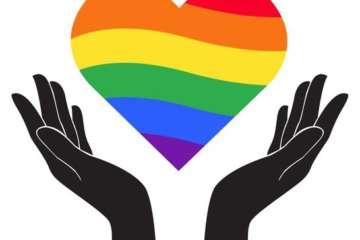 vector hand holding heart rainbow flag lgbt symbol